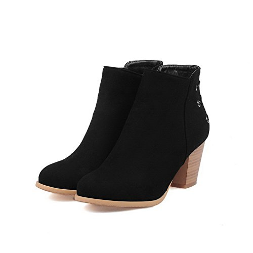 High AgooLar Heels Imitated top Low Solid Boots Zipper Women's Black Suede FFOxwa7q