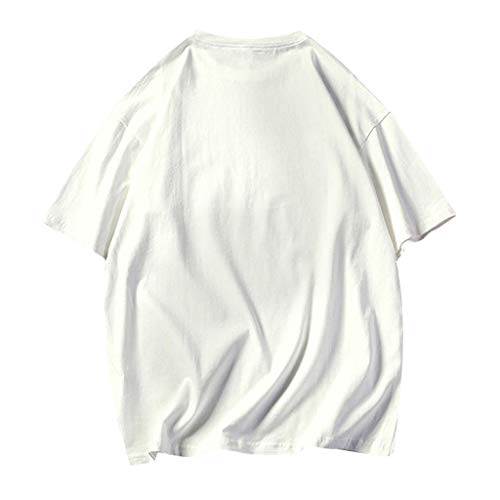 Mens Summer Casual Loose Pure O-Neck Fashion Short Sleeves T-Shirts Top Blouse 9 Colors White