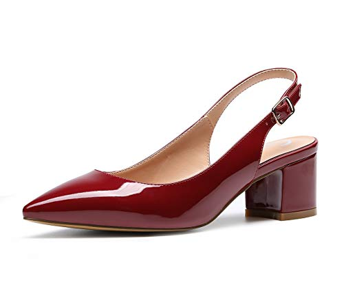 CASTAMERE Women's Slingback Mid Block Heel Pumps Slip-on Pointy Toe Chunky Heels 5CM Heeled Sandals Patent Wine Pump 9.5 M US ()