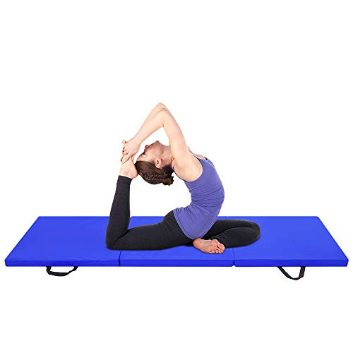 Beedwarm Tri-fold Yoga Mat Folding Gymnastic Mats PU Leather Exercise Mat with Magic Tape on All Sides and Hand Buckle(6ft x 2ft x 2in)