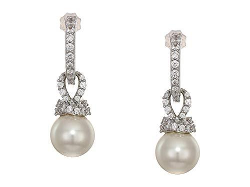 Earrings Plated Brass Rhodium - Swarovski Crystal Originally Rhodium-Plated Earrings