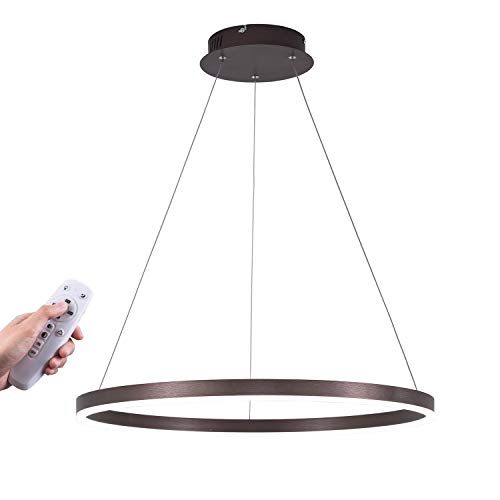 ISRAMP Dimmable LED Pendant Light, Lightweight Super Bright Modern Chandelier Height Adjustable Ceiling Lighting Fixture for Living Room Bedroom Hallway, 36W with Dimmer ()