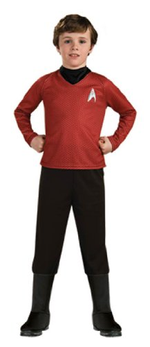 [Star Trek Movie Child's Deluxe Red Shirt Costume with Dickie, Pants with Attached Boot Tops and Emblem Pin,] (Movie Star Costume Party)