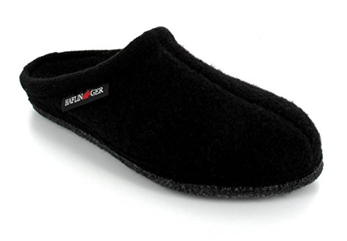 Haflinger Boiled Wool Soft Sole Slipper | Alaska, Black, 47 (Mens Boiled Slippers)