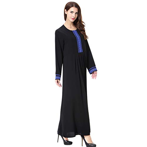 273ad8906215 Womens Muslim Kaftan Middle East Arabia Round Neck Maxi Dress Plus Size  Jilbab, MITIY Blue