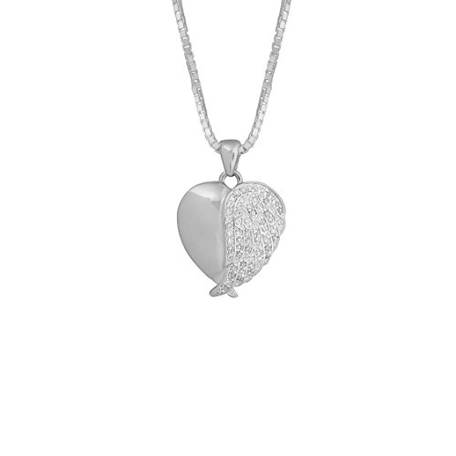 Sterling Silver With White CZ Stones Angel Wing Heart Urn Pendant 18 Inch Sterling Silver Box Chain by Forever Urn Jewelry (Image #1)