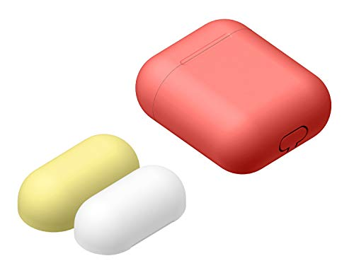 - JanCalm for AirPods Case - [Compatible with Apple AirPods 1 & 2 / AirPods Wireless Charging Case] Scratch-Resistant, Protective, Ultra-Soft, Slim-Fit, Silicone Skin Case (3 Cap Red+Yellow+white) [Red]