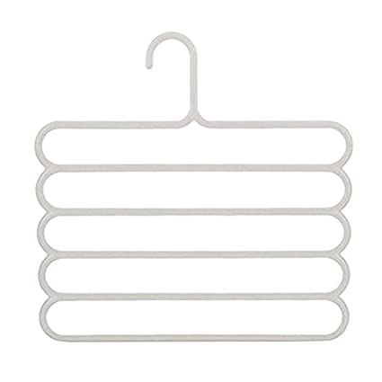 5 Layers Multi-purpose Clothes Hanger Belt Tie Scarf Towels Hanger Storage Organizer Pants Trousers Hanger Holder Rack(Coffee) ZWZ