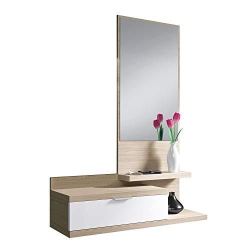 Habitdesign 016744W – Meuble d'entrée Dahila avec Un tiroir et Un Miroir, mobilier d'entrée Couleur Blanc Brillant et Nature, mesures: 116 cm (Hauteur) x 81 cm (Longueur) x 29 cm (Profondeur)
