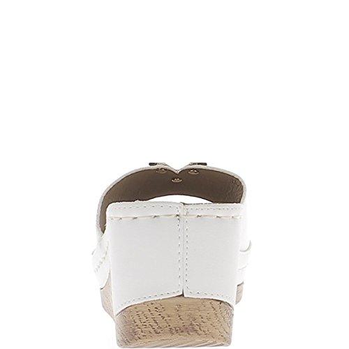 Sabots compensés blancs à talon de 7cm et plateau de 3cm mats
