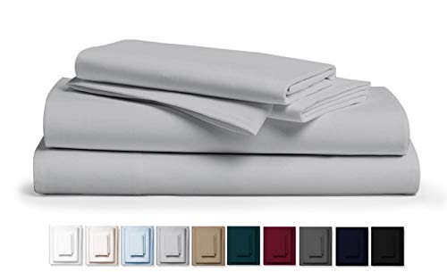 (Kemberly Home Collection 800 Thread Count 100% Pure Egyptian Cotton - Sateen Weave Premium Bed Sheets, 4- Piece Silver Queen- Size Luxury Sheet Set, Fits mattresses Upto 18