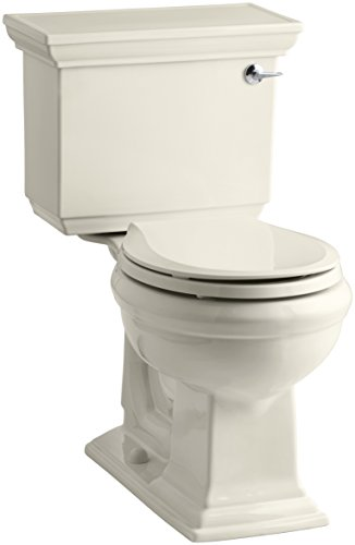 KOHLER K-3933-RA-47 Memoirs Stately Comfort Height Two-Piece Round-Front 1.28 Gpf Toilet with Aquapiston Flush Technology and Right-Hand Trip Lever, Almond