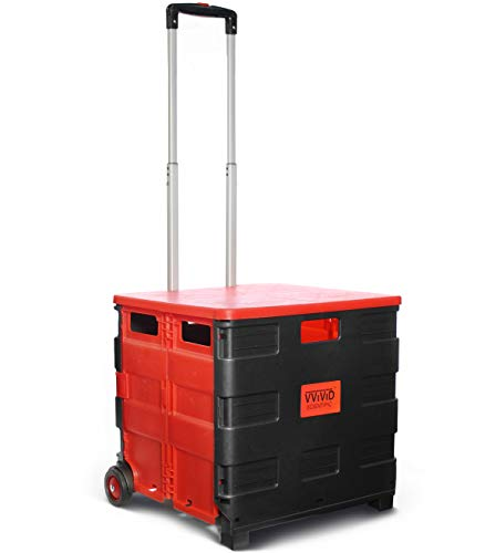 VViViD Large Collapsible & Portable Durable Plastic Rolling Universal Hand Truck w/Telescoping Handle