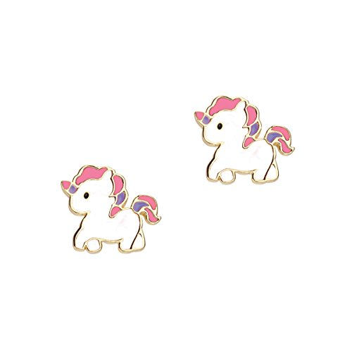 Wedding Moments Favors Precious (Girl Nation Cuties Collection Enamel Sweet Baby Unicorn Post Earrings, White)