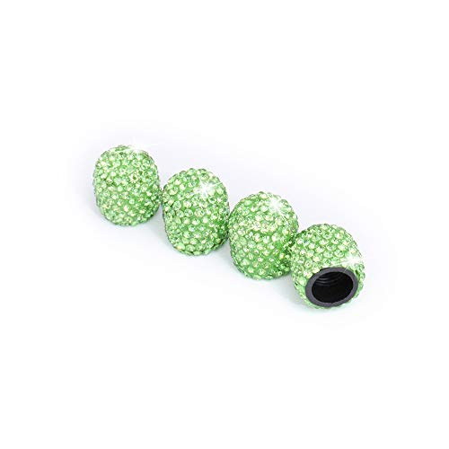 Royalfox 4 Pieces Jeweled Bling Diamond Rhinestone Tire Wheel Stem Valve Caps Cover for Car Truck (Green)