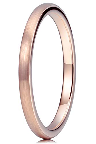 THREE KEYS JEWELRY Women Wedding Bands 2mm Rose Gold Tungsten Brushed Viking Carbide Ring with Jewels Infinity Unique for Her Size 7