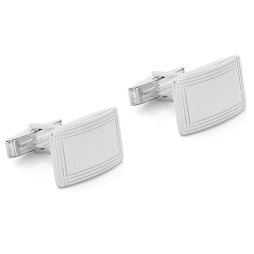 Geometric Silver Sterling Cufflinks (Curved Sterling Silver Geometric Cuff Links)