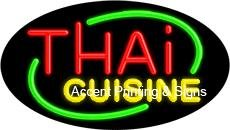 Thai Cuisine Flashing Handcrafted Real GlassTube Neon Sign by Accent Printing & Signs
