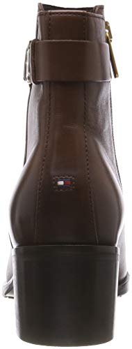 Hilfiger Femme Boot Mid Leather Marron 211 Th coffee Botines Heel Tommy Buckle FwqHdpp