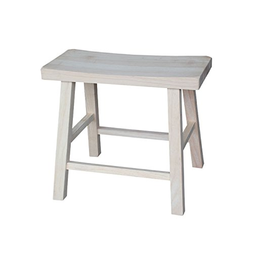 Piece Natural Finish 5 Tile (International Concepts 1S-681 18-Inch Saddle Seat Stool, Unfinished)