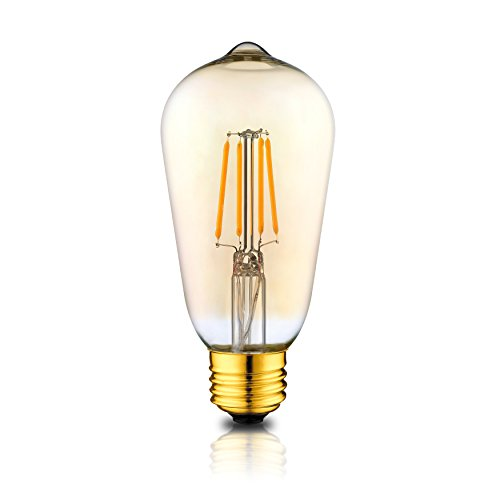 NEW Hudson Lighting Dimmable LED Edison Bulb - UL Certified - Vintage Antique Style - Single Pack - ST58-280 Lumens - 4 Watt - Dimmable - E26 Bulb Base-2 Year (Style Single Light)