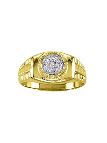 - Diamond Designer Lucky Pinky Ring set in 14K Yellow Gold Plated Silver