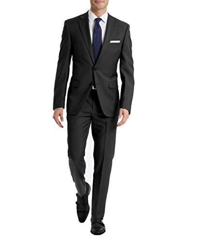 Cheap Calvin Klein Men's Slim Fit Stretch Suit Separates, Charcoal Pant, 38W x 32L mens suits