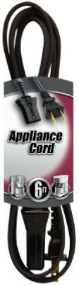 Coleman Cable 09316 6' 16/2 Wire Gauge Black Small Appliance Cord