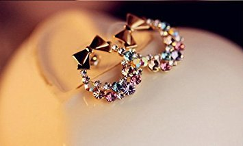 ed37dc012 Fashion Hot Cute Sweet Lovely Bowtie Garland Rhinestone Earring Ear Stud:  Amazon.co.uk: Jewellery