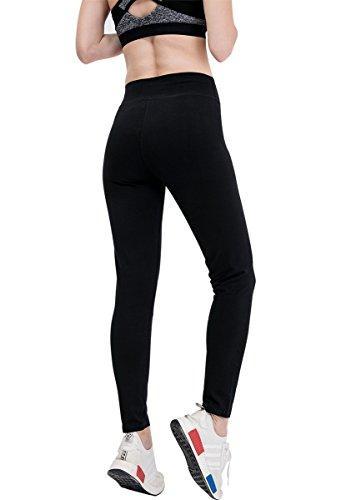 Fitglam medias de las polainas de la yoga pantalones de entrenamiento pantalones elásticos de las bragas de la mujer activa que se ejecuta ejercicio de la gimnasia Black(ankle-length pants)