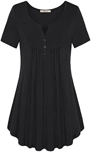 Bebonnie Women's Vintage Short Sleeve V Neck Pleated Tunic Shirt