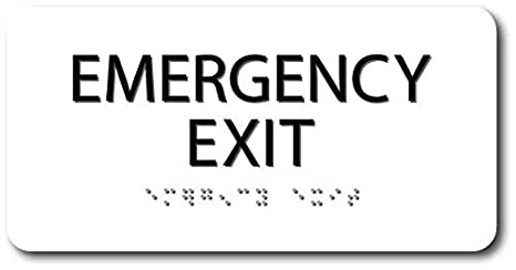 Amazon.com: ADA Braille Señal de salida de emergencia – 4