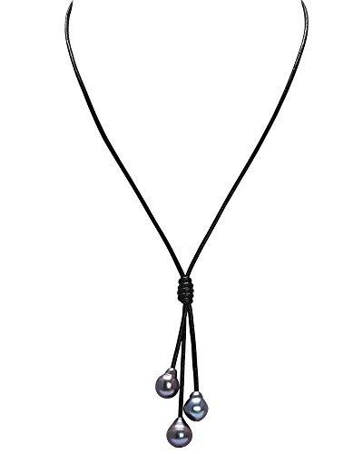 Pearlypearls 3 Freshwater Pearl Pendant Necklace on Black Leather Cord Jewelry for Women 18''