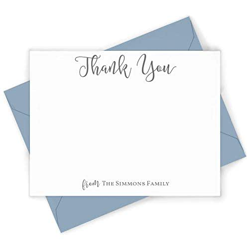 Personalized Stationery Set  Script Pretty Classic Thank You Notes for Family Stationary  Notecards  HANDLETTER GRATITUDE FOLDED