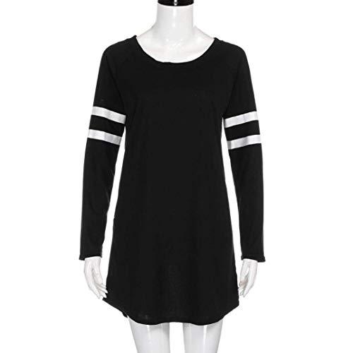 FimKaul Autumn Womens Crewneck Long Sleeve Baseball Blouse Raglan Long T-Shirt Tunic Tops (XL, Black) by FimKaul (Image #2)