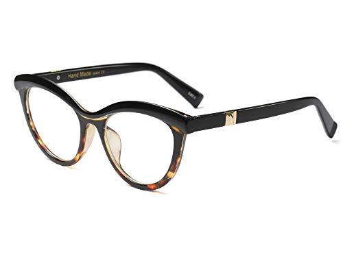 (Allt Vintage Cat Eye Optical Eyewear Half Tinted Frame Mod Eyeglasses with Clear Lenses For Women (Black/Leopard))