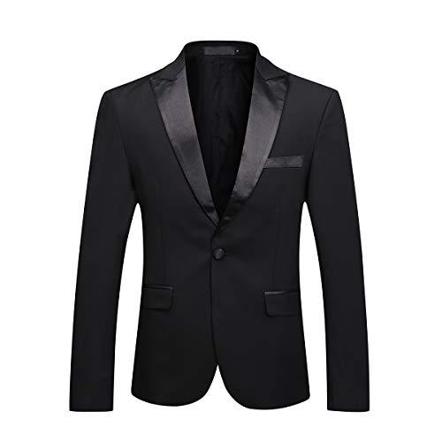 Mens Black Tux Suit Jacket One Button Satin Peaked Lapel Dress Blazer Sport Coat ()