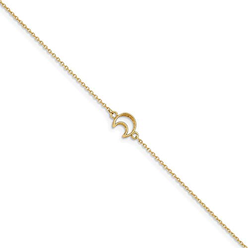 14k Yellow Gold Textured Moon 1in. Adjustable Chain Plus Size Extender Anklet Ankle Beach Bracelet Celestial Fine Jewelry Gifts For Women For Her ()