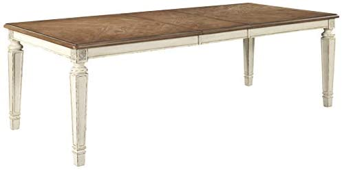 Amazon Com Signature Design By Ashley Realyn Dining Room Extension Table Chipped White Tables