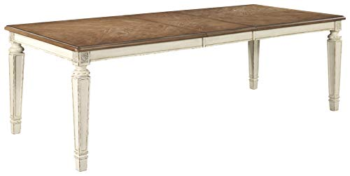 Signature Design By Ashley - Realyn Rectangular Dining Room Extention Table - Casual Style - Chipped White