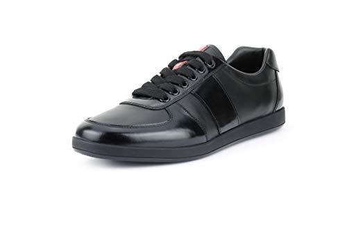 (Prada Men's Plume Spazzolato Leather Low-top Sneakers, Nero (Black) (11 US / 10 UK) )