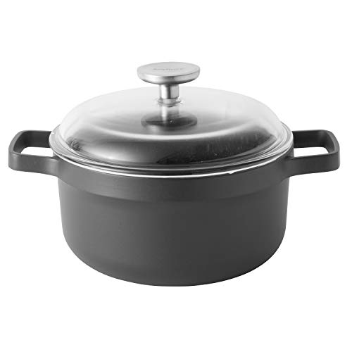 - Berghoff- Gem Collection- Cast Aluminum 11 Inch Non-Stick Covered Stock Pot 7.7 Quarts in Black
