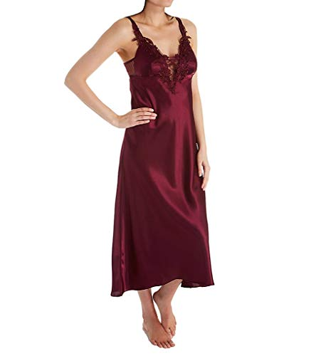 Flora Nikrooz Stella Charmeuse Long Gown with Foam Cup (T80235) L/Bordeaux