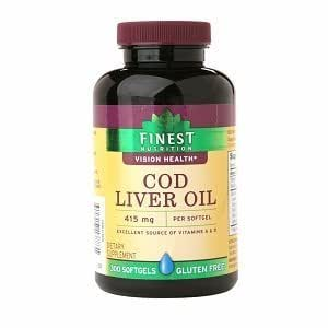 Finest nutrition cod liver oil 415mg softgels for Cod fish nutrition