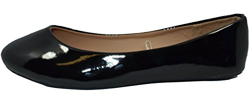 HapHop Women's Classic Ballerina Flats Round Toe Ballet Slip On Casual Fancy Comfort Shoes, Black Patent, - Shoes Lady Fancy Flat