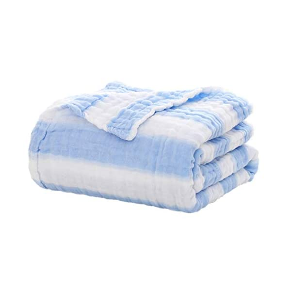 Amaric Receiving Blankets Swaddling Toddler Blanket Bedding 100% Organic Muslin Cotton 43″x 43″ Gift Baby Kids,BlueWhite