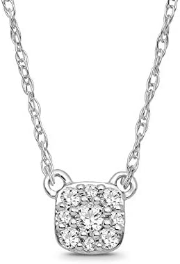 Sterling Silver Diamond Cluster Pendant Necklace (1/10 cttw, I-J Color, I2-I3 Clarity), 18″
