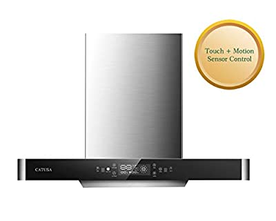 CATUSA 36 Inch Range Hood, 635CFM Wall Mount Range Hood LED Display Touch Control Panel, Stainless Steel and Black Tempered Glass Kitchen Cooking Vent Range Hood, 3 Speed Exhaust Fan