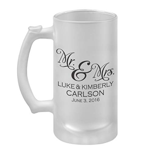 Personalized Custom Text Wedding Mr & Mrs Couple Frosted Glass Stein Beer Mug