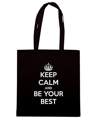 Speed Shirt Borsa Shopper Nera TKC0768 KEEP CALM AND BE YOUR BEST